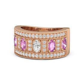 Oval White Sapphire 14K Rose Gold Ring with Pink Sapphire & White Sapphire