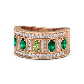 Oval Peridot 14K Rose Gold Ring with Emerald & Diamond