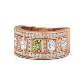 Oval Peridot 14K Rose Gold Ring with White Sapphire & Diamond