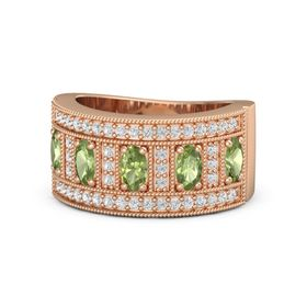 Oval Peridot 14K Rose Gold Ring with Peridot and White Sapphire