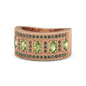 Oval Peridot 14K Rose Gold Ring with Peridot and Green Tourmaline