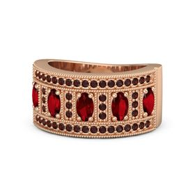 Oval Ruby 14K Rose Gold Ring with Ruby & Red Garnet