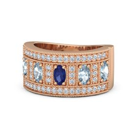Oval Blue Sapphire 14K Rose Gold Ring with Aquamarine and Diamond