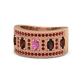 Oval Pink Tourmaline 14K Rose Gold Ring with Red Garnet and Ruby
