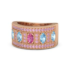 Oval Pink Tourmaline 14K Rose Gold Ring with Blue Topaz and Pink Tourmaline