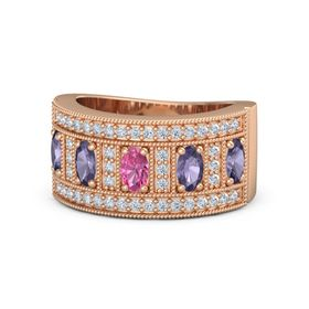 Oval Pink Tourmaline 14K Rose Gold Ring with Iolite and Diamond