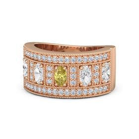 Oval Yellow Sapphire 14K Rose Gold Ring with White Sapphire & Diamond