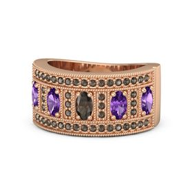 Oval Smoky Quartz 14K Rose Gold Ring with Amethyst & Smoky Quartz