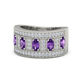 Oval Amethyst 14K White Gold Ring with Amethyst & Diamond