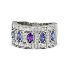 Oval Amethyst 14K White Gold Ring with Tanzanite and White Sapphire