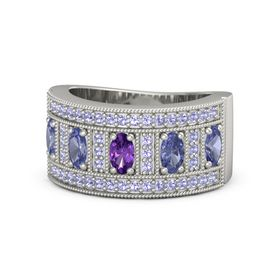 Oval Amethyst 14K White Gold Ring with Tanzanite