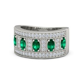 Oval Emerald 14K White Gold Ring with Emerald & Diamond