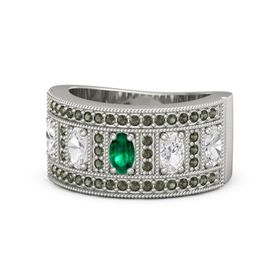 Oval Emerald 14K White Gold Ring with White Sapphire and Green Tourmaline