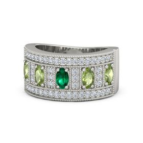 Oval Emerald 14K White Gold Ring with Peridot & Diamond