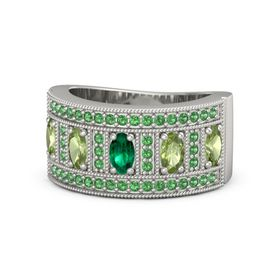 Oval Emerald 14K White Gold Ring with Peridot and Emerald