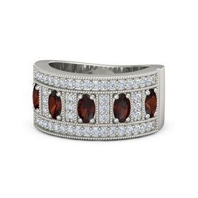 Oval Red Garnet 14K White Gold Ring with Red Garnet and Diamond