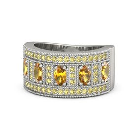 Oval Citrine 14K White Gold Ring with Citrine and Yellow Sapphire