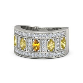 Oval Citrine 14K White Gold Ring with Yellow Sapphire and Diamond