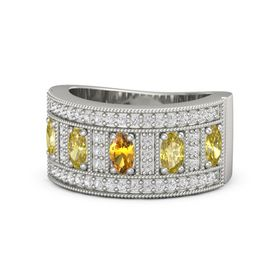 Oval Citrine 14K White Gold Ring with Yellow Sapphire and White Sapphire