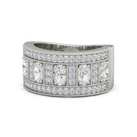 Oval White Sapphire 14K White Gold Ring with White Sapphire & Diamond