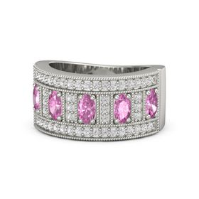 Oval Pink Sapphire 14K White Gold Ring with Pink Sapphire and White Sapphire