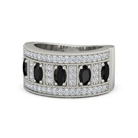 Oval Black Onyx 14K White Gold Ring with Black Onyx & Diamond