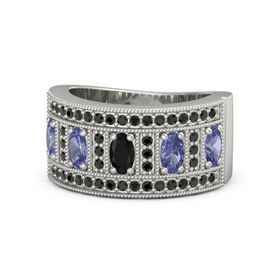 Oval Black Onyx 14K White Gold Ring with Tanzanite & Black Diamond