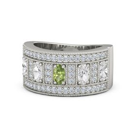 Oval Peridot 14K White Gold Ring with White Sapphire and Diamond