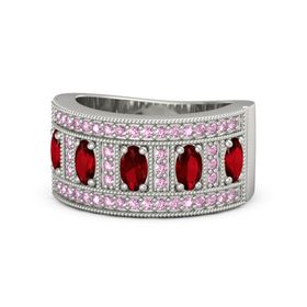Oval Ruby 14K White Gold Ring with Ruby and Pink Sapphire