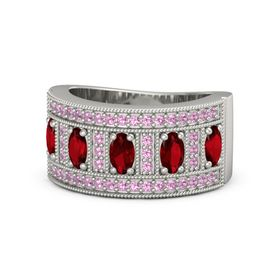 Oval Ruby 14K White Gold Ring with Ruby & Pink Tourmaline