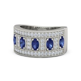 Oval Sapphire 14K White Gold Ring with Sapphire & Diamond