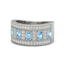 Oval Blue Topaz 14K White Gold Ring with Blue Topaz & White Sapphire