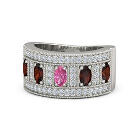 Oval Pink Tourmaline 14K White Gold Ring with Red Garnet and Diamond