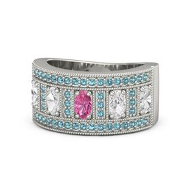 Oval Pink Tourmaline 14K White Gold Ring with White Sapphire & London Blue Topaz