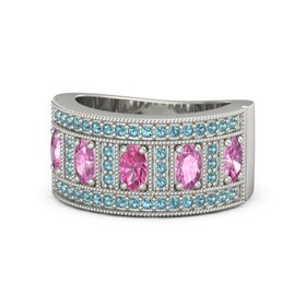 Oval Pink Tourmaline 14K White Gold Ring with Pink Sapphire and London Blue Topaz