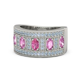 Oval Pink Tourmaline 14K White Gold Ring with Pink Sapphire & Blue Topaz