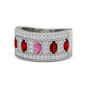 Oval Pink Tourmaline 14K White Gold Ring with Ruby and Diamond
