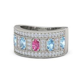 Oval Pink Tourmaline 14K White Gold Ring with Blue Topaz and Diamond