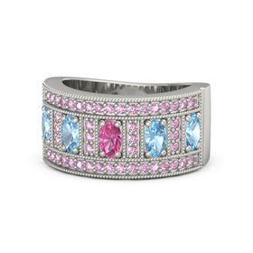 Oval Pink Tourmaline 14K White Gold Ring with Blue Topaz & Pink Sapphire