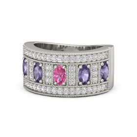 Oval Pink Tourmaline 14K White Gold Ring with Iolite and White Sapphire