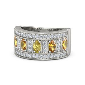Oval Yellow Sapphire 14K White Gold Ring with Citrine and Diamond