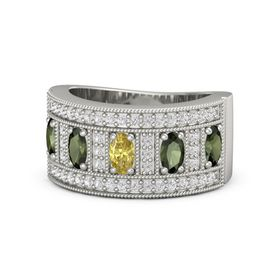 Oval Yellow Sapphire 14K White Gold Ring with Green Tourmaline and White Sapphire