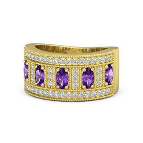 Oval Amethyst 14K Yellow Gold Ring with Amethyst & Diamond