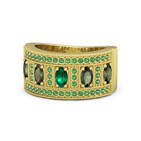 Oval Emerald 14K Yellow Gold Ring with Green Tourmaline and Emerald