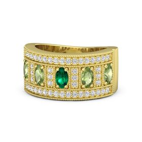 Oval Emerald 14K Yellow Gold Ring with Peridot and White Sapphire