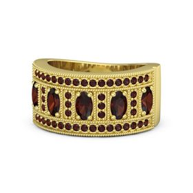 Oval Red Garnet 14K Yellow Gold Ring with Red Garnet