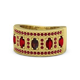 Oval Red Garnet 14K Yellow Gold Ring with Ruby
