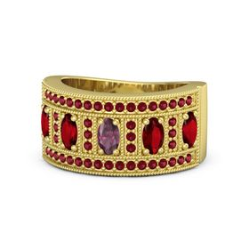 Oval Rhodolite Garnet 14K Yellow Gold Ring with Ruby