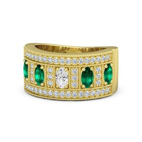 Oval White Sapphire 14K Yellow Gold Ring with Emerald & Diamond