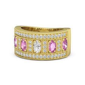 Oval White Sapphire 14K Yellow Gold Ring with Pink Sapphire and Diamond